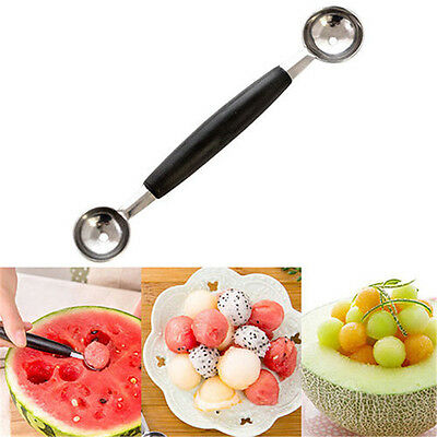 Stainless Steel Double-end Melon Ice Cream Ball Scoop Fruit Spoon Kitchen Tool