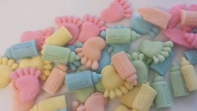 Edible sugar paste baby shower cake toppers ( 50 per set ) feet and baby bottles