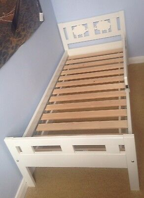 White Wooden Junior Bed With Sheep Detail