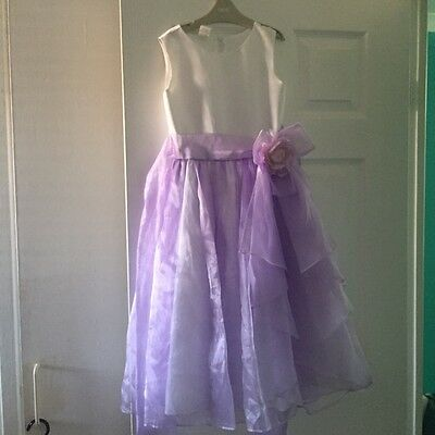 Girls Bridesmaid Dress, White and Lilac, Age 8