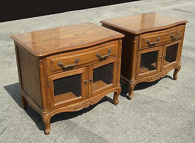 Pair Beautiful Vintage HENREDON French Country Wood NIGHTSTANDS Wire Mesh Doors