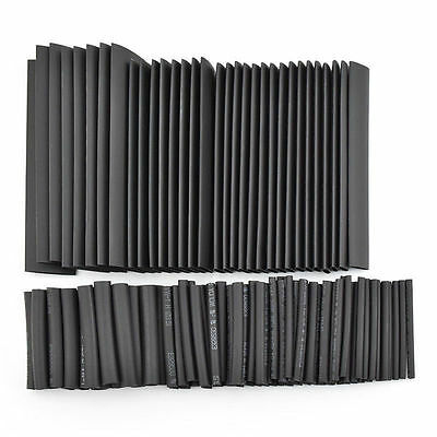 127x Black Heat Shrink Sleeving Tubing Tube Assortment Kit Wire Wrap Electrical