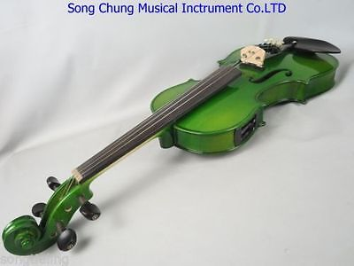 "Hand-made solid wood Green colors electric acoustic viola 15"" good sound"