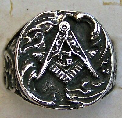 Freemason ~ Size:9 ~ Round_Faced ~A ~ S/steel  ~ Ring -- (Great_Gift)