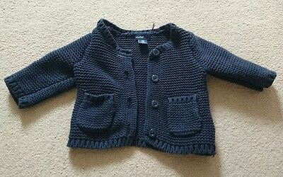 Thick Knitted Baby Gap Navy Cardigan Size 0-3 Months