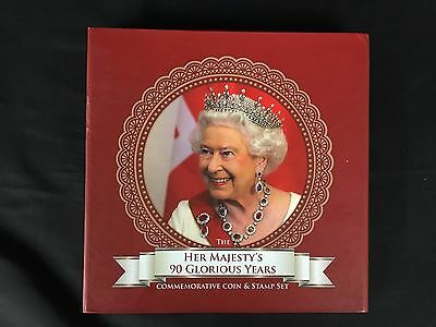 Her Majestys 90 Glorious Years Commemorative Coin & Stamp Set Queen Jubilee Mint