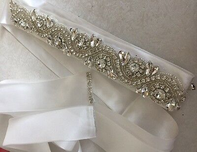 Ivory Ribbon Crystal Beaded Belt Sash Wedding Bridal Dress Accessories
