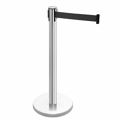 Retractable Barrier Post Polished Stainless Steel with Black Webbing