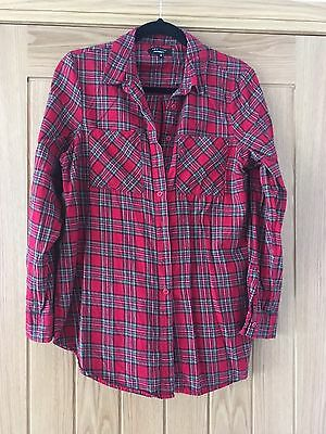 Red Tartan New Look Maternity Shirt, Size 12