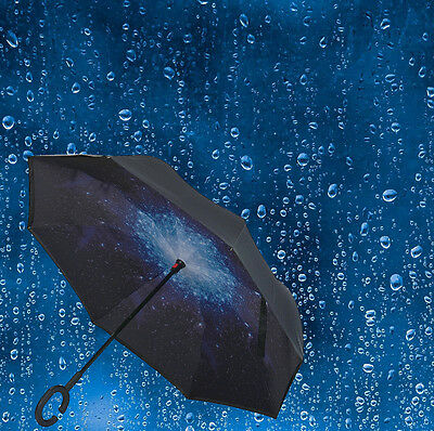 Modern Upside Down Reverse Umbrella C-Handle Double Layer Inside-Out Colors Q