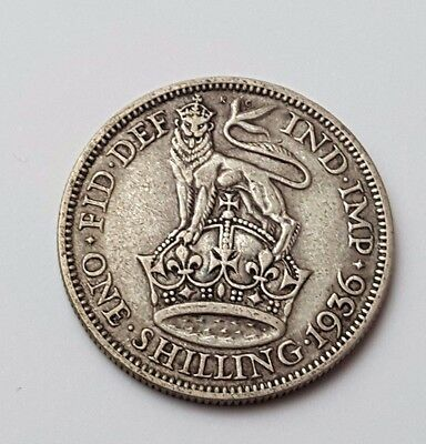 1936 - Silver - One Shilling - Great Britain - King George V - English UK Coin
