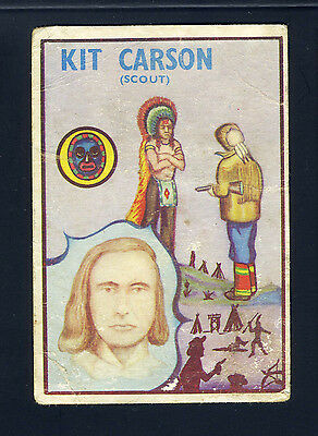 1960 Colinville GUM TRADE CARD Prairie Pioneers #24 KIT CARSON SCOUT & GENERAL