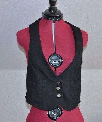 U*  Ladies Womens Black Denim Waistcoat  Top size 12  from Select