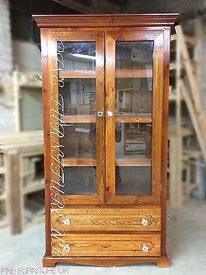 Handmade Craft Mahogany Book shelve+ 2 Drawer  With 2 Clear Mirror Doors