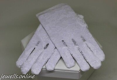 White Lace Gloves Confirmation Flower girls Bridesmaid wedding Accessories