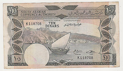 YEMEN --South Arabia-- 10 dinars 1967 VF- scarce P.5