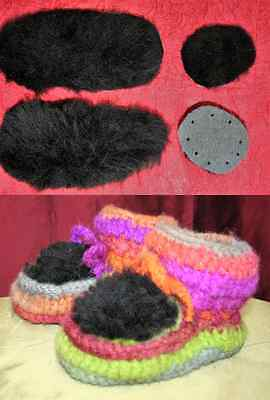 MIKA Babies Booties Crochet Kit Pattern & Sheepskin Pieces 6 - 12 MONTHS Black