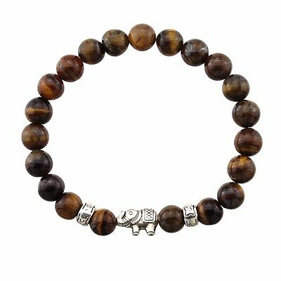 Natural Antique Lave Stone Beads Bracelet - Lucky Elephant