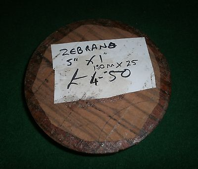 Wood Turning Blank - Waxed Zebrano - 130mm x 25mm
