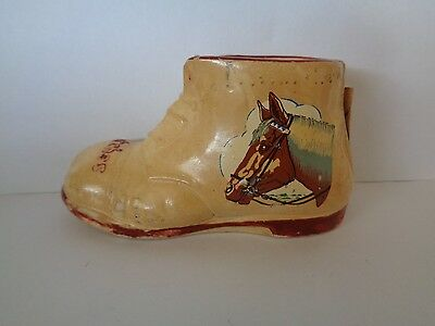 Vintage Ceramic Horse Picture Matches Boot Approx 5 cm High 9 x 3.5 Wide