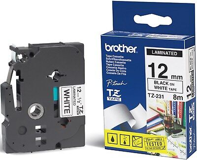 Brother P-touch TZ-231 (12mm x 8m) Black On White Gloss Laminated Labelling Tape