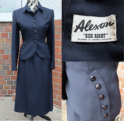 True vintage 1940s 1950s dark navy tailored jacket and skirt suit set small