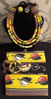 African fabric 5 piece set of Head wrap, clutch bag, necklace, earrings and 2 ba