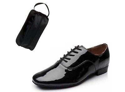 Size 10 Men's Black Patent Leather Ballroom Dance Shoes And Shoe Bag *seconds*