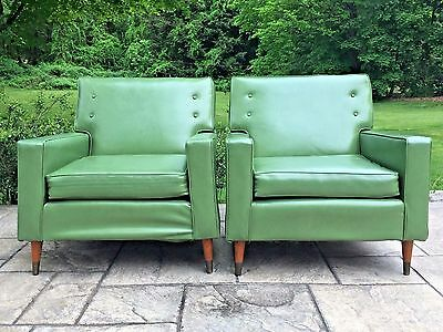 Original Mid Century Modern Pair Green Leather Club LOUNGE CHAIRS