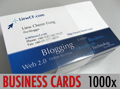 1000 Full Colour Single Sided Business Cards Printed on 350gsm Card