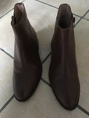 Women's Office Brown Leather Ankle Boots Size 6