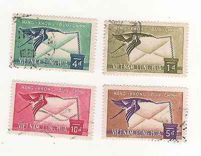 1960 South VIETNAM Air issue - Crane bird carrying letter SET SG#S126-S129 USED