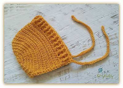 Mustard Crochet Knitted Baby Bonnet Beanie Hat / Photo Prop / Handmade in Vic.
