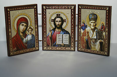 Russian Triptych Church Icon St Nicholas, Holly Marry and Jesus Christ
