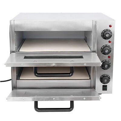 3kW Commercial Business Twin Deck Electric Pizza Oven Stone Bake Base 2x 16inch