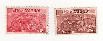 1961 South VIETNAM 50c & 80c Agricultural Development - Farm Tractor stamp USED