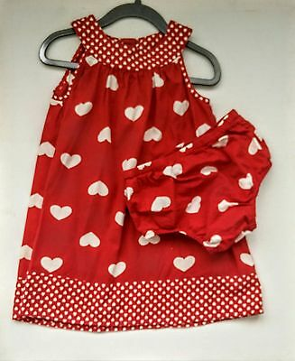 18-24 months Red And White heart Summer Dress With Matching Knickers
