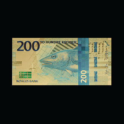 WR 2017 Norwegian Money 200 Krone Coloured Nok Gold Norway Banknote Blue Codfish