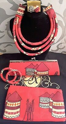 African fabric 5 piece set of Head wrap, clutch bag, necklace, earrings  bangles