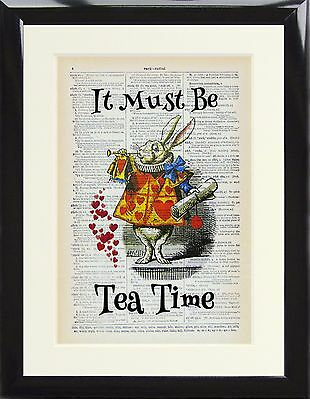 Dictionary Art Print Alice in Wonderland White Rabbit Picture Must be Tea Time