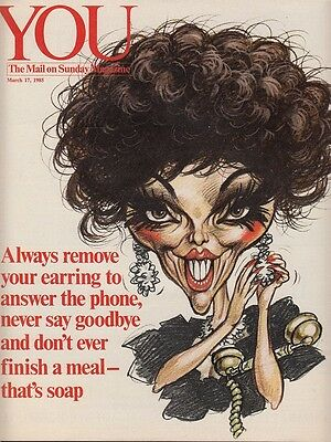 JOAN COLLINS - British Magazine YOU - THE MAIL ON SUNDAY March 17th 1985 C#32