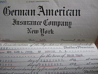 1918 Canadian Insurance Policy German American New York Moncton New Brunswick