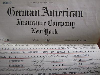 1918 Canadian Insurance Policy German American New York Moncton Furniture