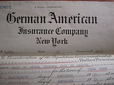 1918 Canadian Insurance Policy German American Moncton School New Brunswick