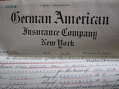 1919 Canadian Insurance Policy German American New York Eddington Moncton