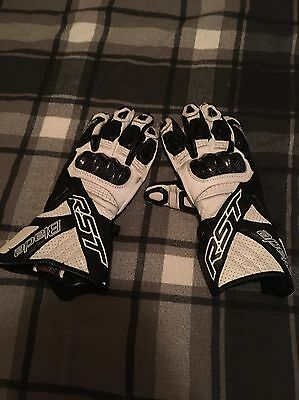 Mens White RST Blade Motorcycle Gloves