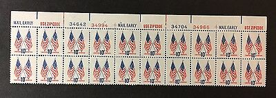 US Stamp Plate Block of 20 - Scott# 1509 Flags MNH - Free Shipping