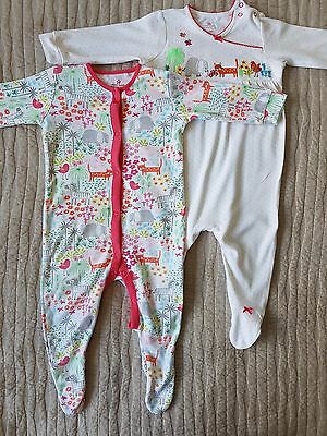 NEXT Baby Girl Long Sleeve Sleepsuits 2 Pack 6-9 months