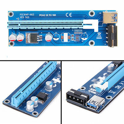 4PIN PCI-E Express USB 1X To 16X Extender Riser Card Adapter 30CM 60CM Cable