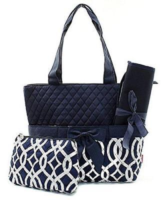 Quilted Vine 3pc Diaper Bag Set-Navy